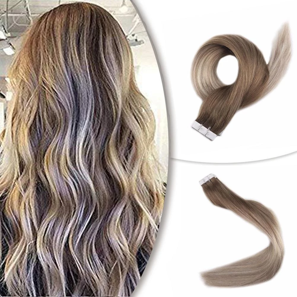 Full Shine Tape Hair Balayage Color#8 Ash Brown Fading To Blonde #60 And #18 20Pcs 100% Remy Human Hair Tape In Hair Extensions