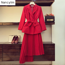 Autumn 2 Piece Set Women New Red Suit Jacket Blazer + Irregular Pleated Skirt Goddess Two-piece Party Dress Sets Femme