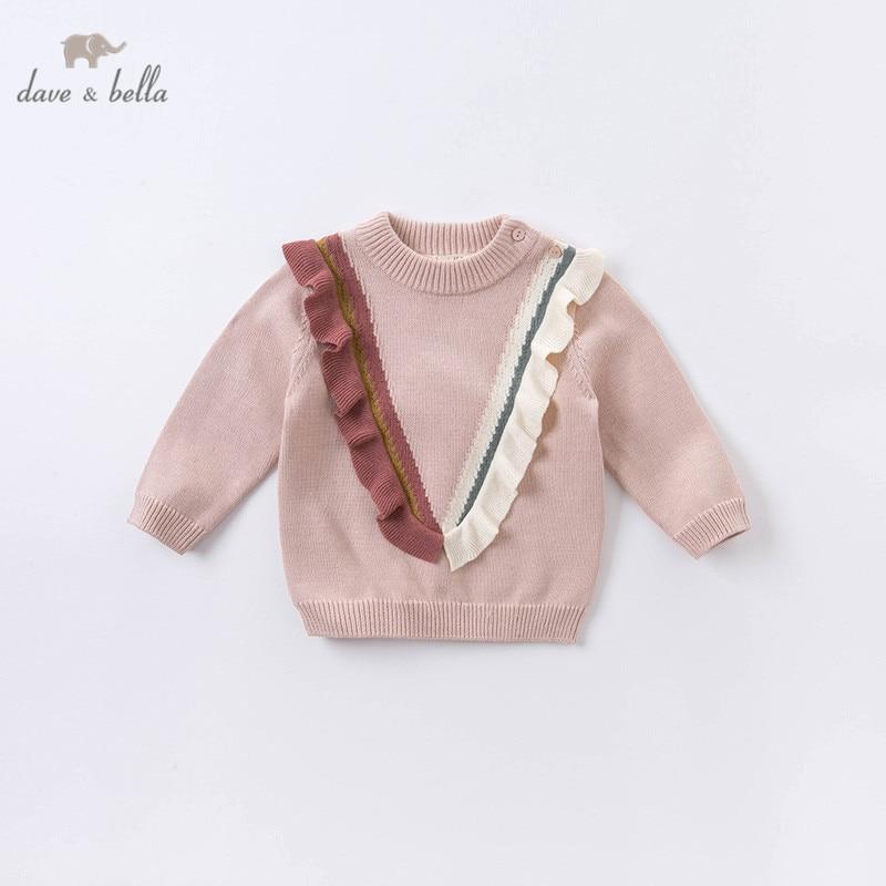Милый вязаный свитер с рюшами для маленьких девочек, Модный пуловер для детей, эксклюзивные топы для малышей, для осени, в стиле «dave bella»|Свитера| | АлиЭкспресс