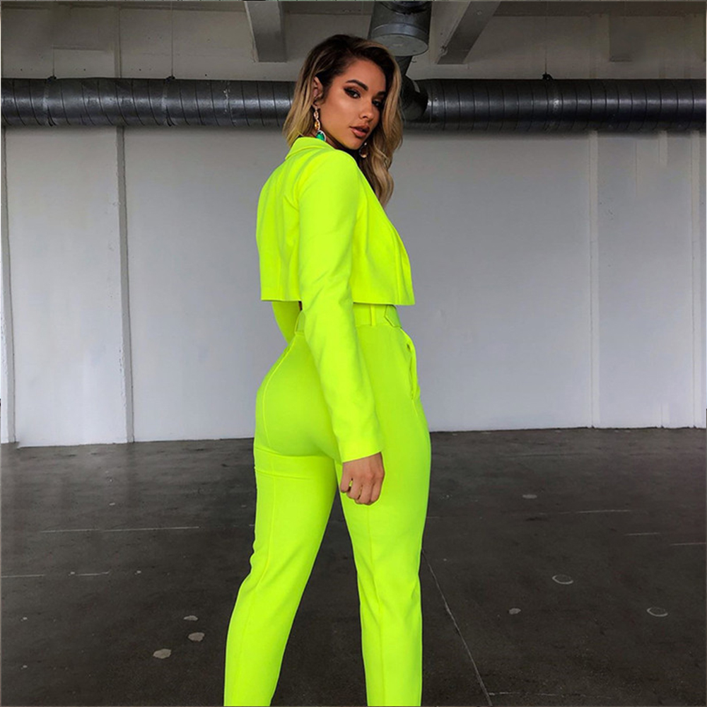 Fashion Blazer Pant Suit Women Summer Long Sleeve Cardigan Short Jacket+High Waist Pants Slim Casual Two Piece Set Streetwear