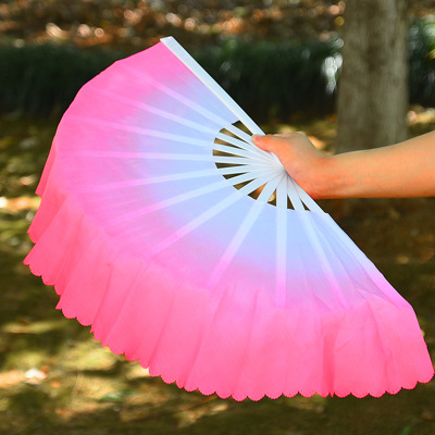 Bo ning Plastic Clouds Color Gradient Color Dance Fan Song Seedling Dancing Song Fan Paired Fans Right Hand image