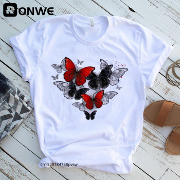 Women Red and Black Butterfly Fashion T Shirt Girl Harajuku Korean Style Graphic Tops Valentine's Day Female T-shirt,Drop Ship 1