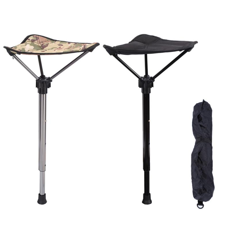 Kitchen WSSW Portable Folding Stool Load 150kg// 330lbs,Black Fishing Adjustable Folding Telescopic Stool For Indoor Outdoor BBQ Bathroom Hiking,picnic Hunting