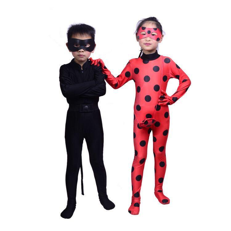 Ladybug Reddy GIRL'S Children Halloween Clothing Children Anime Black Cat Connaught Ladybug GIRL'S Jumpsuit