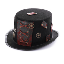 New Men Women Steam Punk Style Hat Fashion Cosplay Dome Bowler Black Steampunk with Gear Decor Vintage Carnival Party Hats