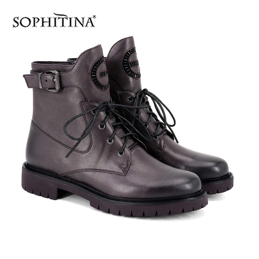 SOPHITINA moda düz çizmeler yüksek kaliteli inek deri yuvarlak ayak rahat kare topuk ayakkabı yeni dantel-up yarım çizmeler SC394