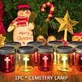 Led jardín decoración al aire libre cementerio noche impermeable lámpara de mesa energía Solar oración ojo cuidado Cruz patrón claro césped de cristal