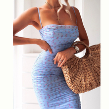 NewAsia Mesh Women Dress Summer 2020 Spaghetti Straps Knee-length Elegant Dress Slim Fit Floral Print Ruched Dresses Blue