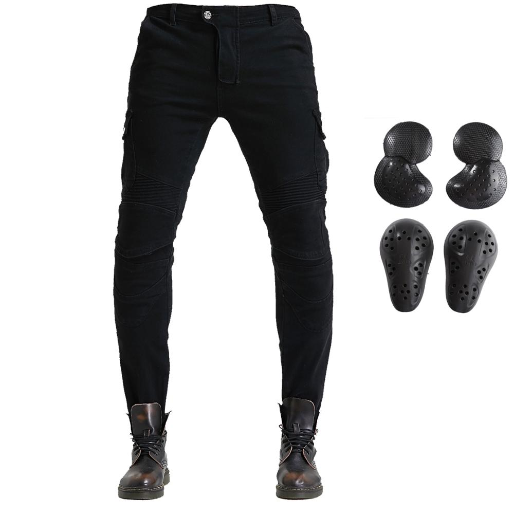 Mens Motorcycle Riding Pants Denim Jeans Protect Pads Equipment with Knee and Hip Armor Pads VES6 Army green, L=32