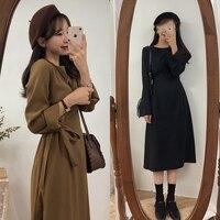 A Line Dresses Hot Sales Women Winter Basic Black Dress Preppy Style Korean Temperament Lady Bow Tie Cute Vintage Dress