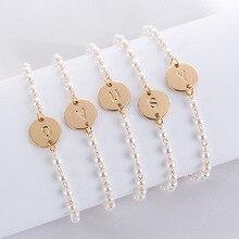 Gold/Steel Color 26 Alphabet Initial Letter Bracelets Bangles for Women Girls Charm Adjustable Chain Charm Party Bileklik Pulsei