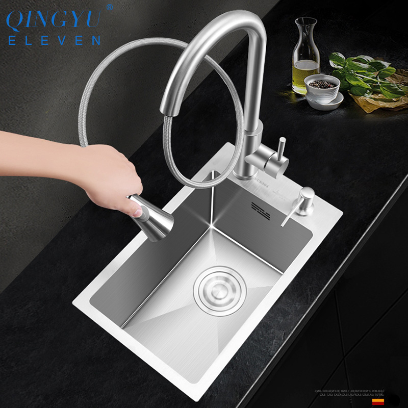 Small Size Sink 304 Stainless Steel 3mm Thickness Mini Manual Sink Set Single Bar Counter Balcony Kitchen Small Sink