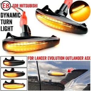 Image 1 - 2 חתיכות דינמי LED צד מרקר הפעל אות אורות 8351A001 עבור Mistubish לנסר EVO X עשן LED הפעל אות אור מחוון