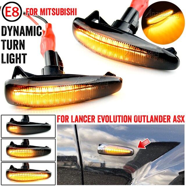 2 חתיכות דינמי LED צד מרקר הפעל אות אורות 8351A001 עבור Mistubish לנסר EVO X עשן LED הפעל אות אור מחוון