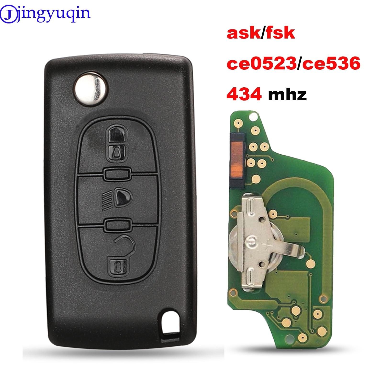 Jingyuqin Ce0523 Ce0536 ASK/FSK 433 МГц ID46 для Peugeot 407 307 308 607 для Citroen C2 C3 C4 C5 C6 C8 Автомобильный ключ VA2/HU83 лезвие
