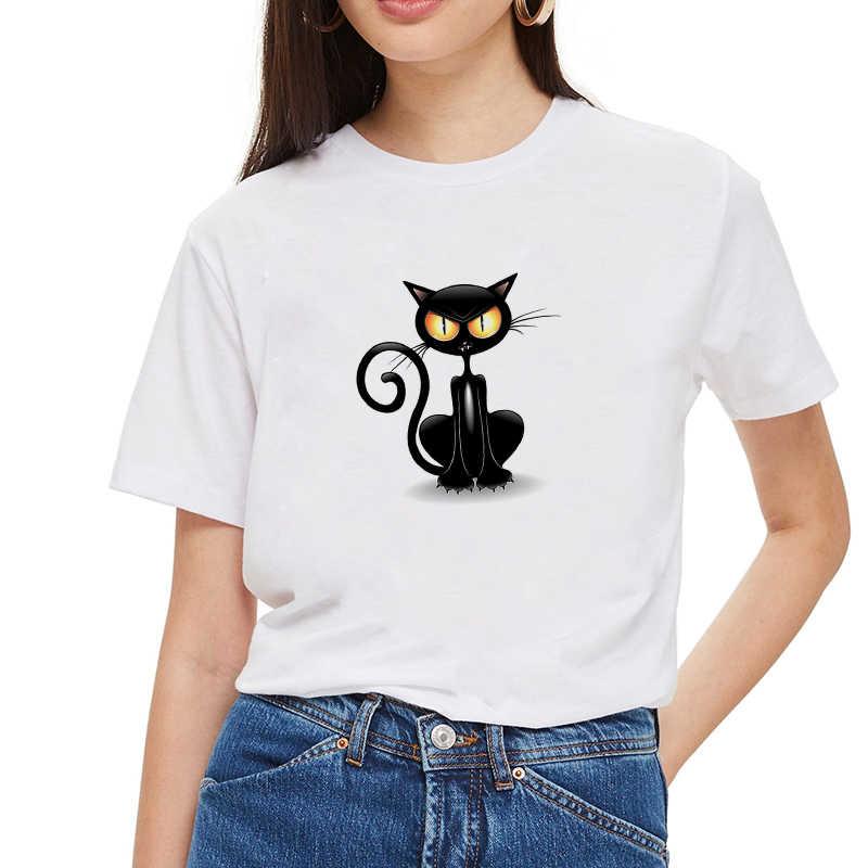 Kpop แมวแฟชั่นพิมพ์ TShirt เกาหลีสไตล์ Streetwear O-คอสั้นแขนเสื้อ Crop Tops Ulzzang เสื้อยืดสีขาวหญิงเสื้อยืด