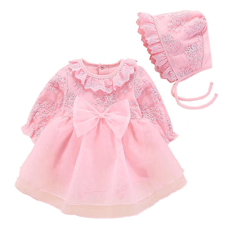 2019 New Baby Princess Dress Newborn Cotton Outwears 2pcs Set Baby Clothing Infant Girls Lace design Long Sleeve Dress and Hat