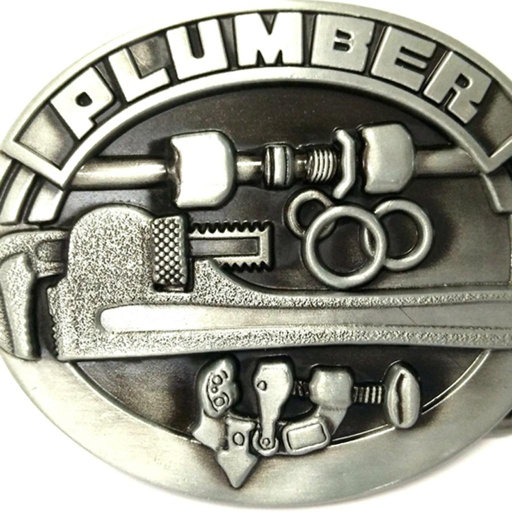 Mens Newest Carved PLUMBER Hard Metal Belt Buckle Leather Belt Cool Accessories Vintage Cowboy Belt Buckles