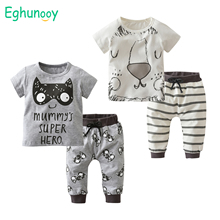 Summer Newborn Baby Boys Clothes Set Cartoon Short Sleeve T-shirt and Casual Pants Casual Toddler Clothing Outfits