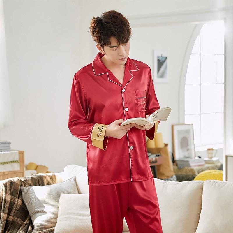 Satin Sleepwear Pajamas For Women 2 Piece Sailk Pijamas Women Nightwear Long Sleeve Pyjamas 2020 Sleep Lounge Home Clothes