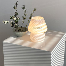 Korea Ins Style Striped Mushroom Table Lamp, 7.48 Inches Murano Style Striped Glass Lamp, Study, Bedside Living Room.