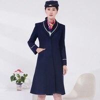 Air China flight Airline stewardess overcoat professional dress Flight attendant coat winter long uniform knee Length wool coat