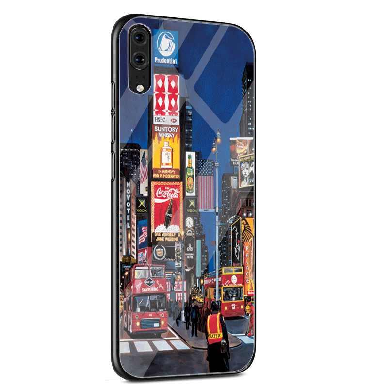 Стеклянный Чехол для мобильного телефона huawei P30 P20 P Smart P10 Y6 7A Y9 Honor 8X9 10 mate 20 Pro Lite NYC Нью-Йорк городской пейзаж милый