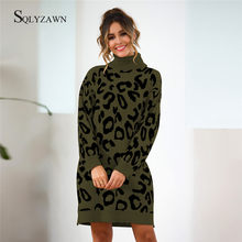 Turtleneck Leopard Knitted Long Dress Women Korean Oversized Sweater Pullover Girls Casual Fall Winter Loose Green Knit Jumper(China)
