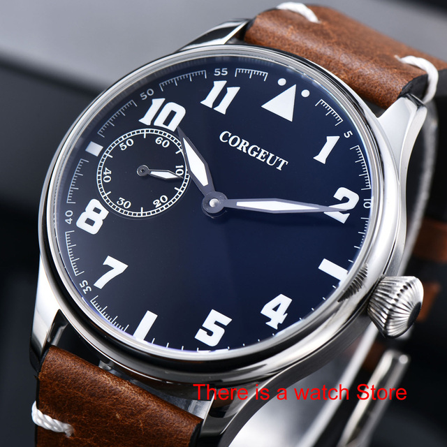 Corgeut 44mm Horloge Mannen 17 Juwelen Hand Kronkelende 6497 Beweging Lichtgevende Waterdichte Mechanische Horloges Lederen Band