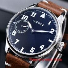 Corgeut 44mm zegarka kobiet 17 klejnotów ręczne nakręcanie 6497 ruch świecenia wodoodporne mechaniczne zegarki na rękę skórzany pasek