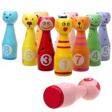 Мультфильм Деревянный игрушек для игры в боулинг с 10 заколки с животными 3 шары набор игрушек детские развивающие игрушки для детей, подарки...