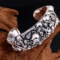 100% Pure 925 sterling Silver Women Men's Heavy Wide skull cuff bracelet bangle Width 24mm Thai Silver Skeleton Vintage Bangle
