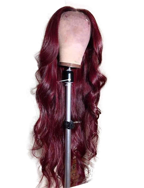 Wijn Rode Kant Voor Pruik Synthetisch Rood Kleurrijke Synthetische Pruik Vrouwen 26 Inch Silky Lange Golvend Coaplay Haar Hittebestendige
