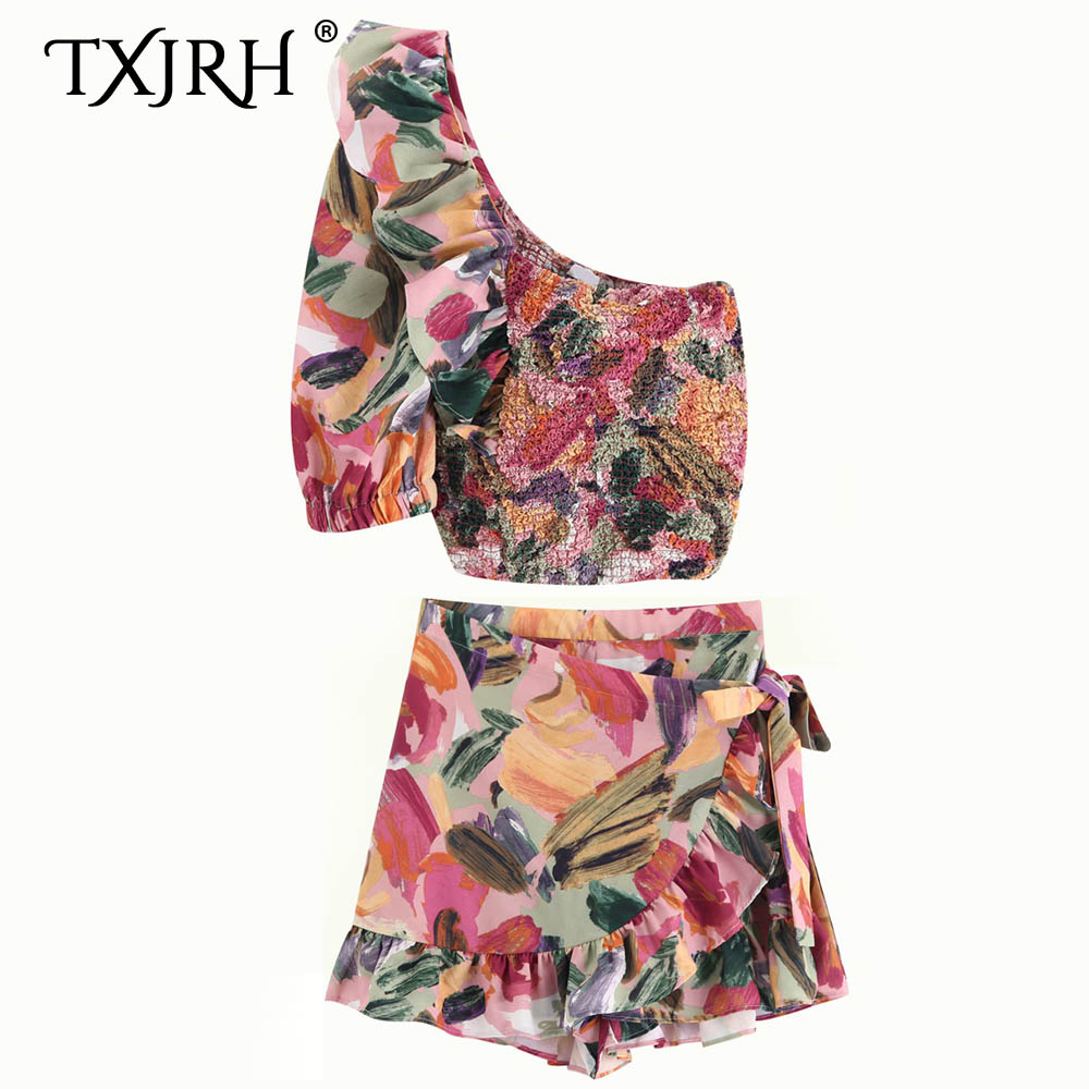 TXJRH Stylish Colorful Floral Print Elastic Pleated Blouse One Sleeve Ruffles Shirt Crop Tops Tied Bow Short Skirt 2 Pieces Sets