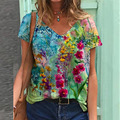 Women Plus Size Casual Streetwear Printed Floral Short Sleeves T-Shirt Fashion Loose Ladies Tops