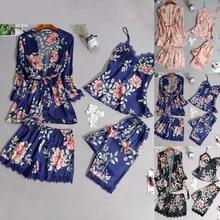 Bathrobe Sleepwear Pajamas-Set Tops Nightdress Home-Clothes Silk Satin Women Lace Sexy