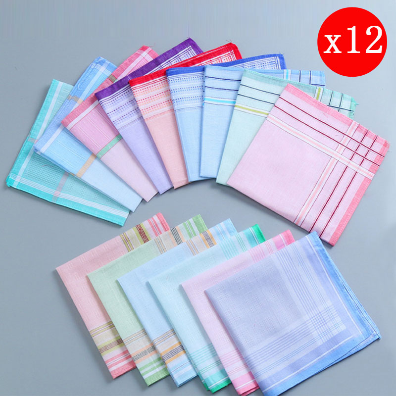 12pcs/lot 28CM*28cm Soft Cotton Stripe Women Square Handkerchief Ladies Hanky Children Baby Towel Party Christmas Gift