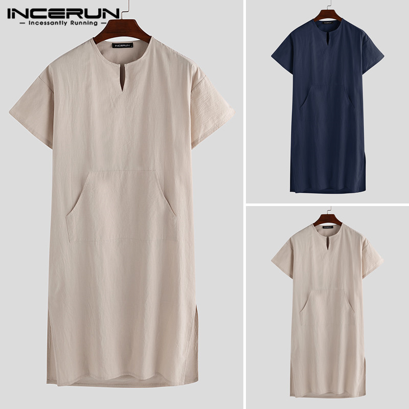 INCERUN Short Sleeve Cotton Men Robes Vintage Pajamas V Neck Pockets Solid Color Nightgown Kaftan Mens Bathrobes Homewear S-5XL