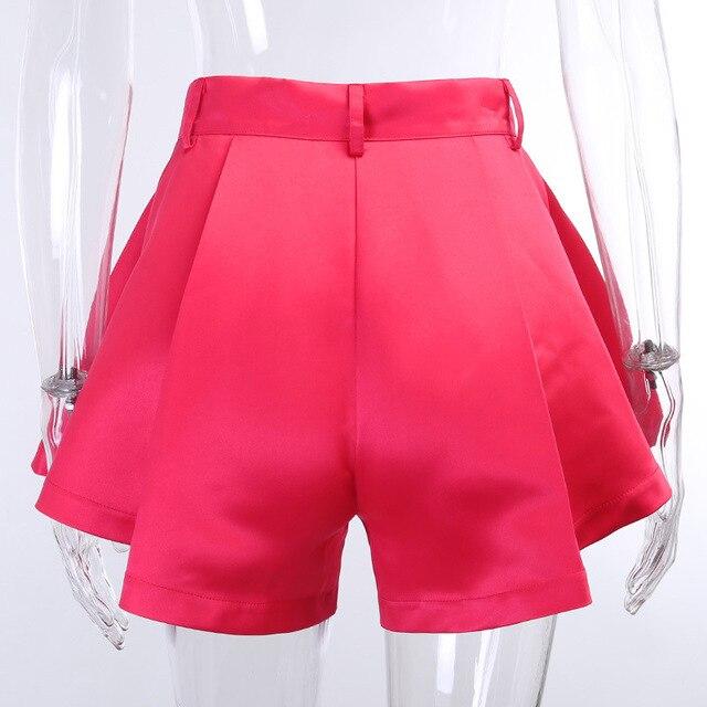 Viifaa Apricot High Waist Pleated Wide Leg Flared Shorts Women Fashion Summer Spring 2020 Ladies Sexy Mini Shorts 5