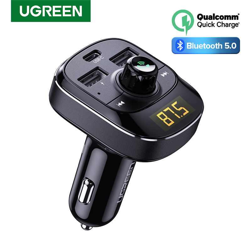 Ugreen PD Car Charger Quick Charge 4.0 3.0 FM Transmitter Bluetooth Handsfree FM Modulator Fast USB Type C Charger For IPhone 11