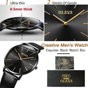 Image 3 - 남성 울트라 씬 쿼츠 시계 OLEVS 탑 브랜드 럭셔리 손목 시계 캐주얼 비즈니스 가죽 시계 로즈 방수 남자 시계 Reloj