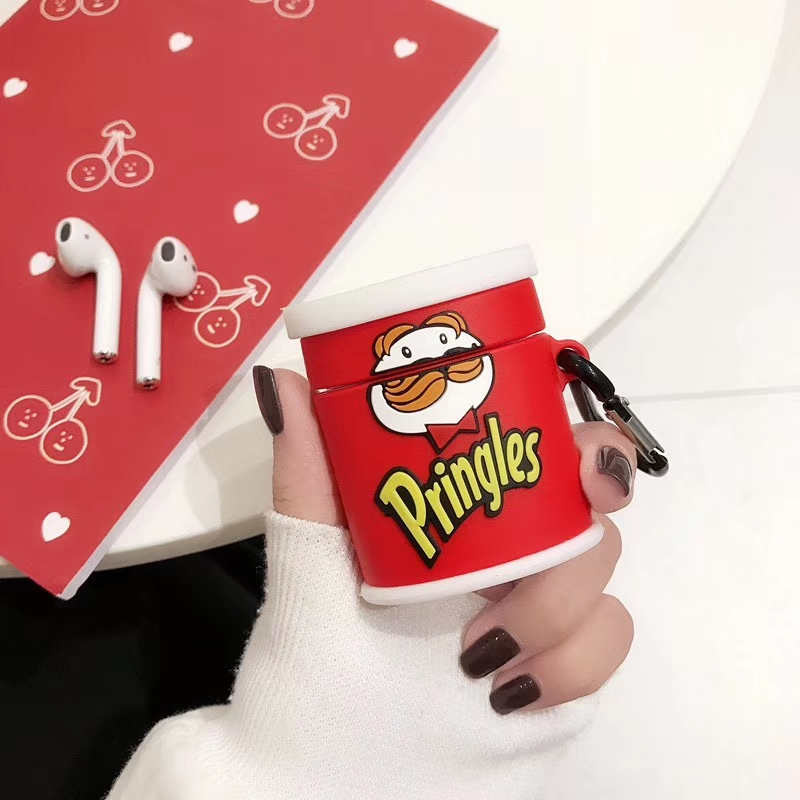 Funny Cartoon Pringles Beard Headphone Cases For Apple Airpods 1/2 3D Cute Silicone Protection Earphone Cover Accessories