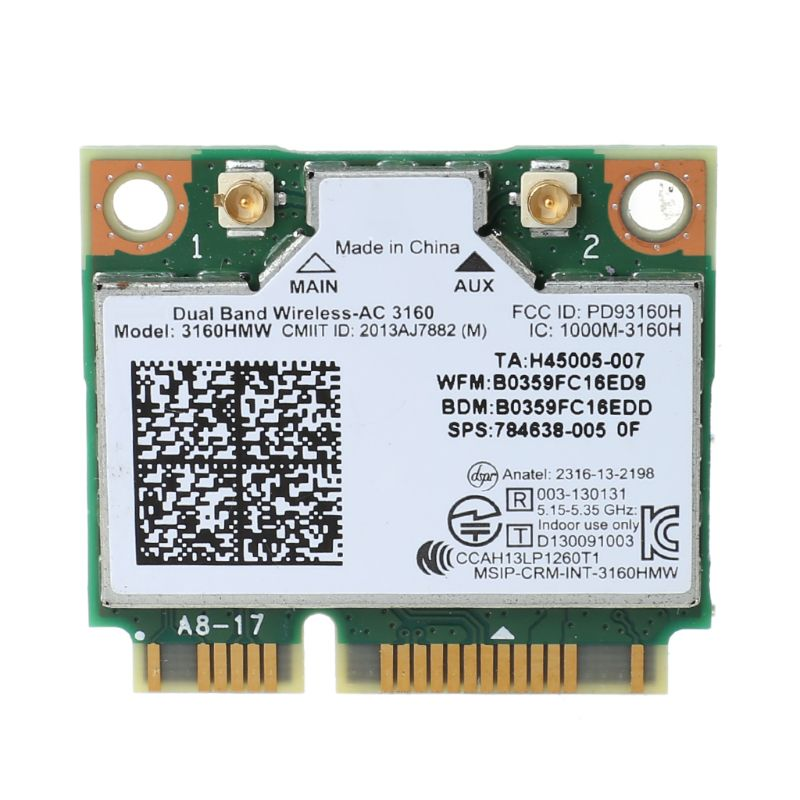 Mini PCI-e Wifi Wireless Laptop Card Dual Band For Intel 3160 3160HMW 802.11ac