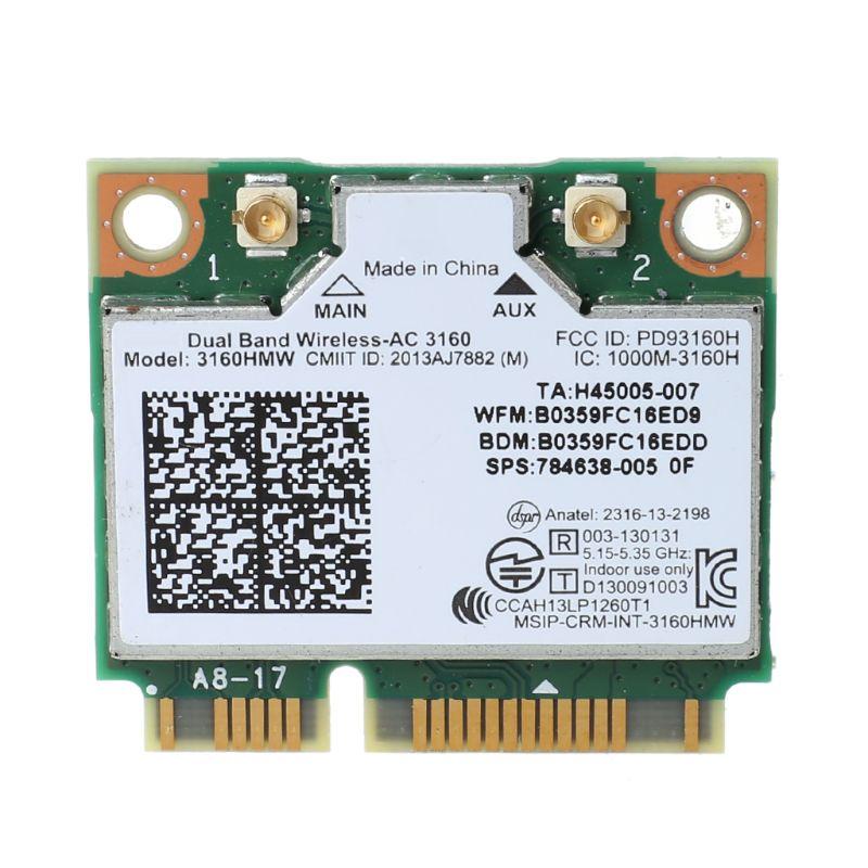 Mini PCI-e Wifi Wireless Laptop Card Dual Band For Intel 3160 3160HMW 802.11ac