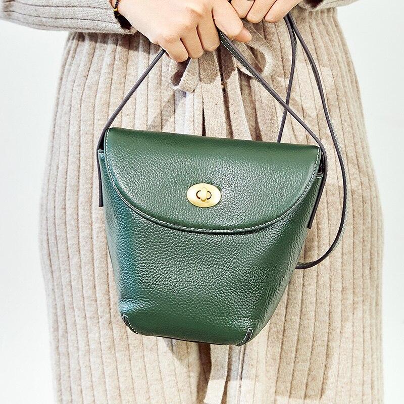 Bolso bandolera de moda para mujer bolso 100% cuero genuino Casual para mujer bolso bandolera balde clásico negro marrón - 2