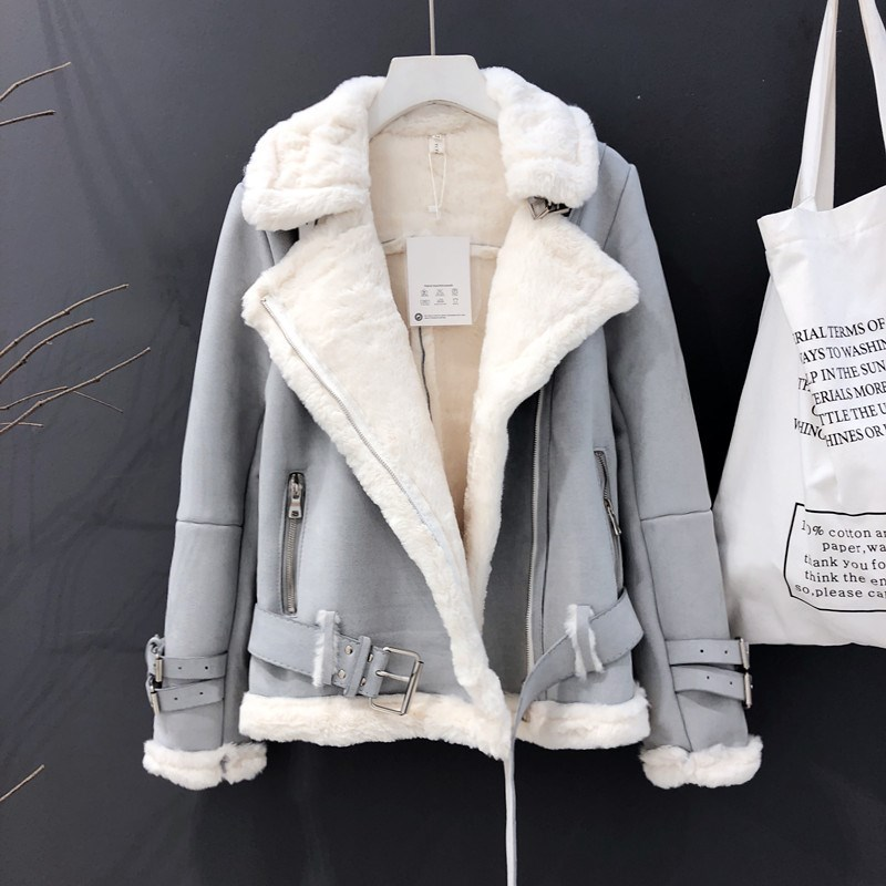 Winter Warm Thick   Suede   Jacket Women Motorcycle Zipper   Suede     Leather   Coat Female Shearling Overcoat