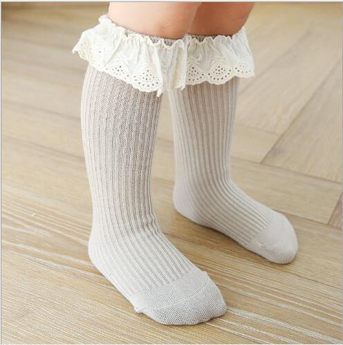 0-8 Y Autumn new children's socks double needle loose mouth baby lace girls tube socks combed cotton children's sock 4