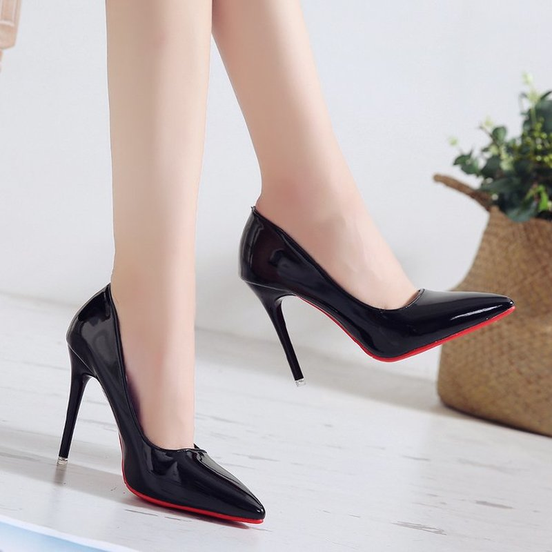 Mazefeng 2019 Women Pumps Brand High Heels 10cm Patent Leather Pointed Toe Sexy Stiletto Shoes Woman Ladies Mature Office Pumps