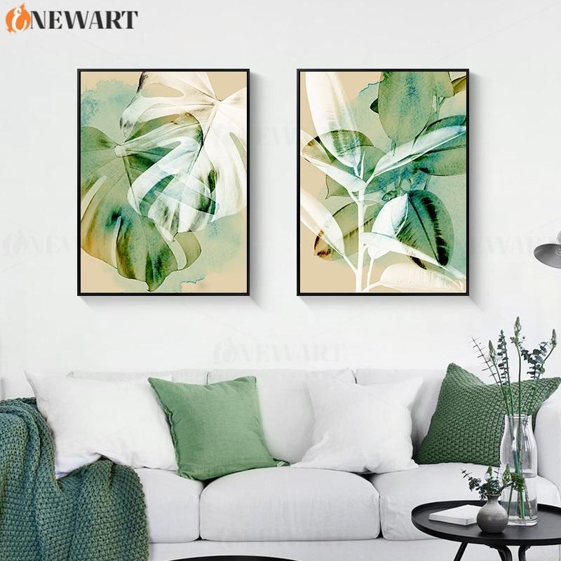 Картина с чернилами и моющимися красками для домашнего декора, зеленая картина с растениями, декор для гостиной, постер, декоративная карти...