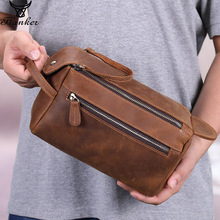 Flanker crazy horse leather men cosmetic bag casual wash travel makeup double zipper man toiletry case with phone pocket